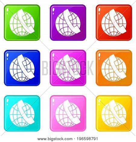 Handset and globe icons of 9 color set isolated vector illustration