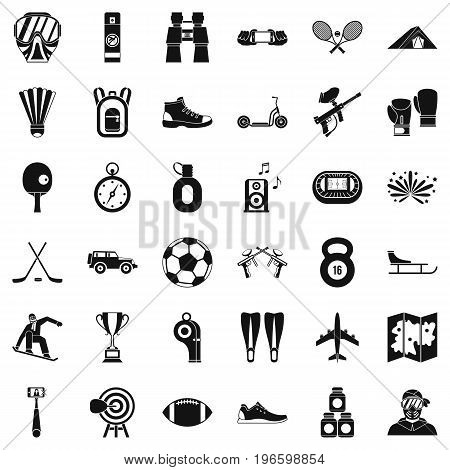 Active life icons set. Simple style of 36 active life vector icons for web isolated on white background