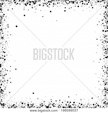 Dense Black Dots. Chaotic Frame With Dense Black Dots On White Background. Vector Illustration.