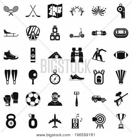 Active sport icons set. Simple style of 36 active sport vector icons for web isolated on white background