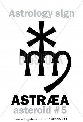 Astrology Alphabet: ASTRÆA, asteroid #5. Hieroglyphics character sign (single symbol).