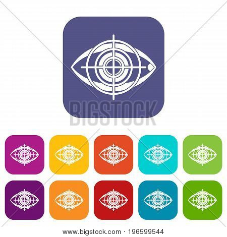 Eye and target icons set vector illustration in flat style in colors red, blue, green, and other