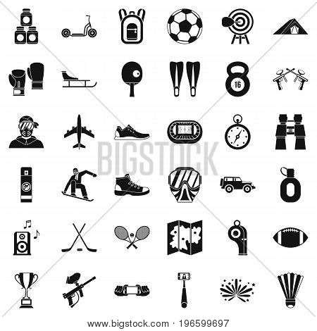Sportive life icons set. Simple style of 36 sportive life vector icons for web isolated on white background