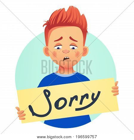 I am sorry message. Sad boy holding poster with word Sorry.