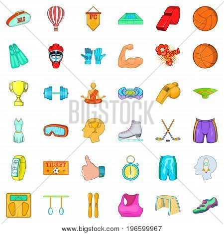 Active accessories icons set. Cartoon style of 36 active accessories vector icons for web isolated on white background