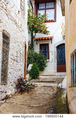 Narrow Street In The Village Of Kritsa Near Agios Nikolaos, Crete, Greece