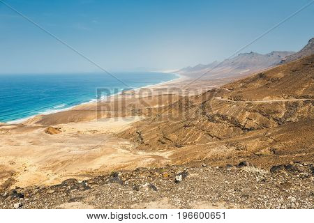 View Of Cofete Beach In Fuerteventura Island, Spain
