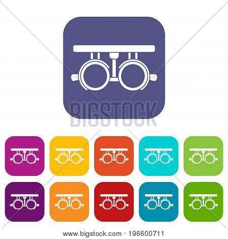 Trial frame for checking patient vision icons set vector illustration in flat style in colors red, blue, green, and other