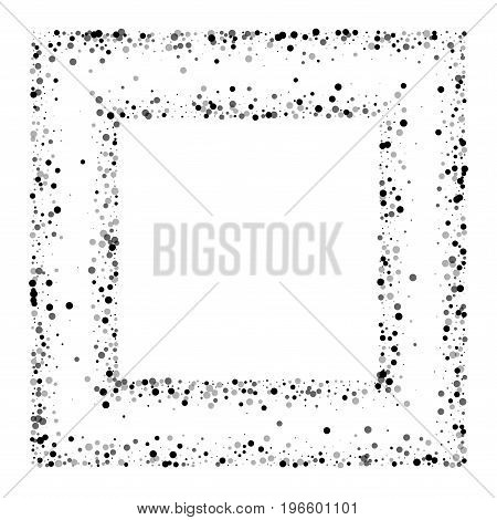 Dense Black Dots. Square Chaotic Frame With Dense Black Dots On White Background. Vector Illustratio