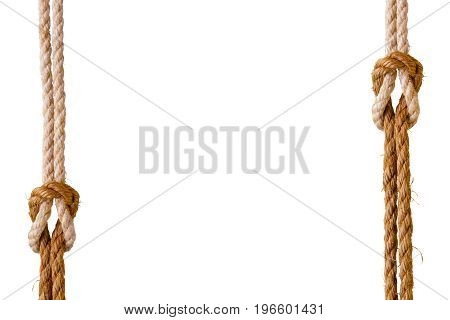 Ropes with reef knots as frame. Isolated on white