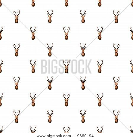 Deer head pattern seamless repeat in cartoon style vector illustration