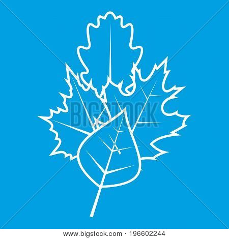 Leaves icon white isolated on blue background vector illustration