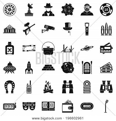Adult games icons set. Simple style of 36 adult games vector icons for web isolated on white background