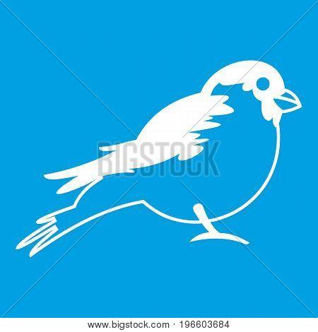 Bullfinch icon white isolated on blue background vector illustration