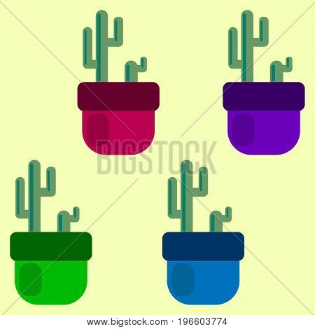 set of four colored cacti in pots. vector illustration