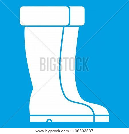 Winter shoes icon white isolated on blue background vector illustration
