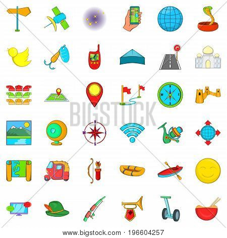 Leisure activites icons set. Cartoon style of 36 leisure activites vector icons for web isolated on white background