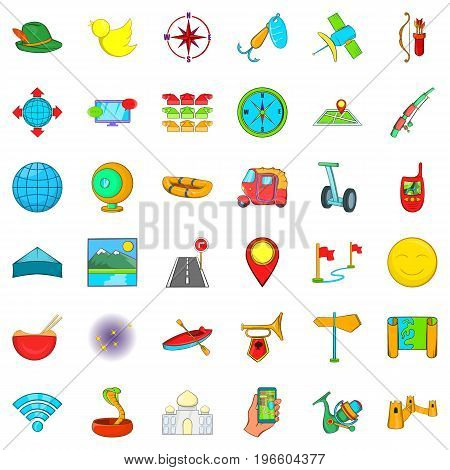 Adventure icons set. Cartoon style of 36 adventure vector icons for web isolated on white background