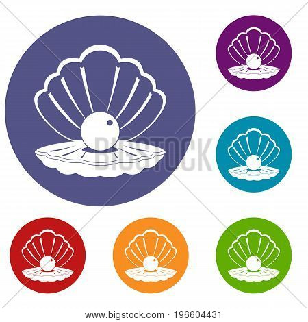 Pearl in a sea shell icons set in flat circle red, blue and green color for web