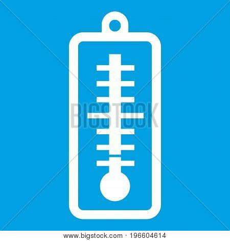 Thermometer indicates low temperature icon white isolated on blue background vector illustration