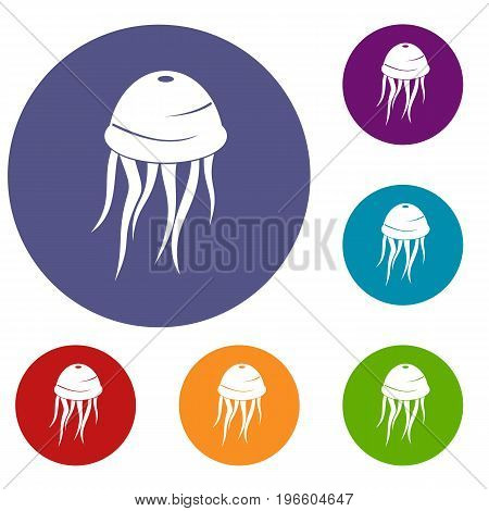 Jellyfish icons set in flat circle red, blue and green color for web