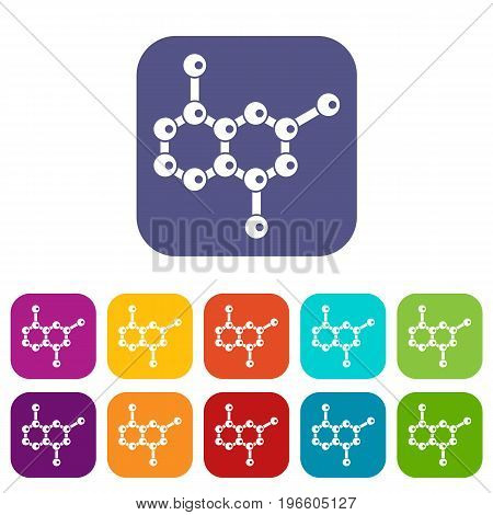 Molecule icons set vector illustration in flat style in colors red, blue, green, and other