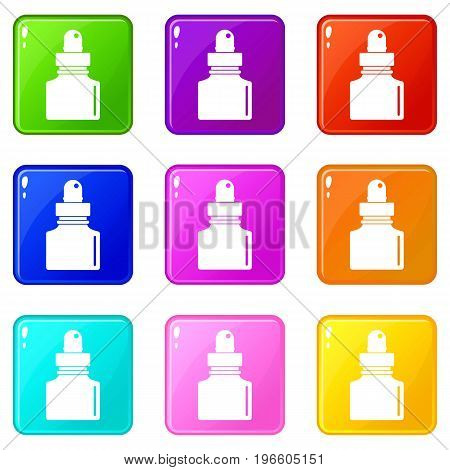 Black inkwell icons of 9 color set isolated vector illustration