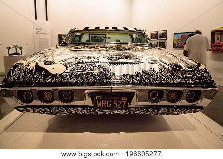 Black And White 1968 Chevrolet Impala Lowrider Called El Muertorider