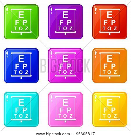 White placard with letters eyesight testing icons of 9 color set isolated vector illustration