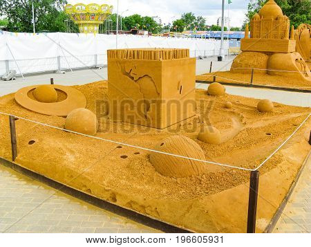 KOLOMENSKOYE MOSCOW RUSSIA - MAY 25 2009: World Championship of Sand Sculpture