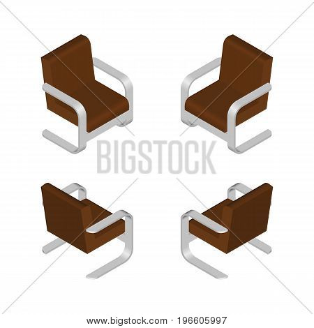 Isometric Modern Armchair. Furniture Design Elements. Vector Illustration.