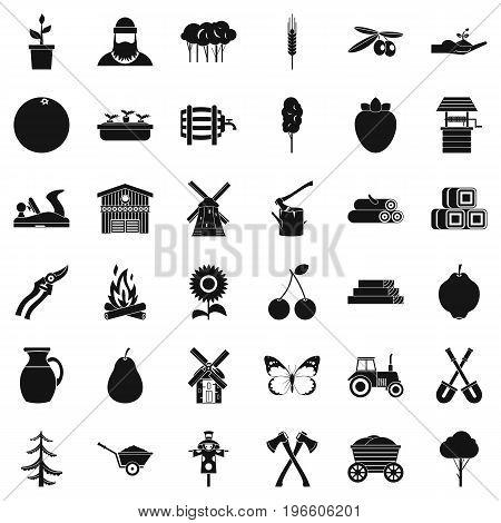 Agriculture icons set. Simple style of 36 agriculture vector icons for web isolated on white background