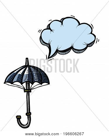 Cartoon image of Umbrella Icon. Shelter symbol. An artistic freehand picture.