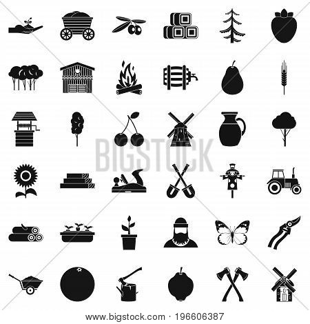 Farming icons set. Simple style of 36 farming vector icons for web isolated on white background