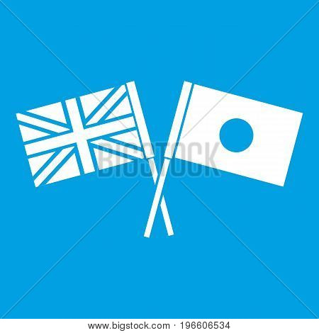 UK and Japan flags crossed icon white isolated on blue background vector illustration