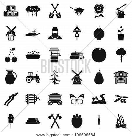 Agriculture equipment icons set. Simple style of 36 agriculture equipment vector icons for web isolated on white background