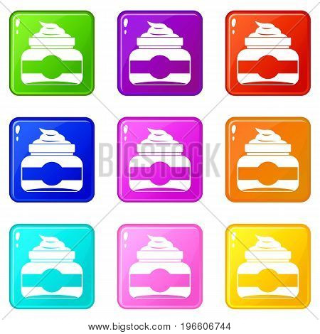 Jar of cosmetic cream icons of 9 color set isolated vector illustration
