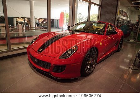 Los Angeles CA USA - July 23 2017: Red 2010 Ferrari 599 GTO displayed at the Petersen Automotive Museum. Editorial use.