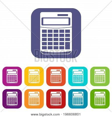 Calculator icons set vector illustration in flat style in colors red, blue, green, and other