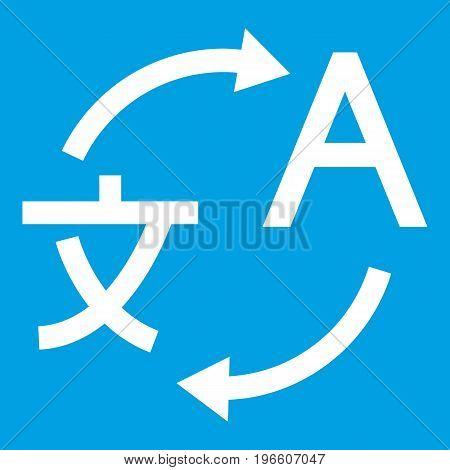 Translating icon white isolated on blue background vector illustration