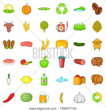 Farm working icons set. Cartoon style of 36 farm working vector icons for web isolated on white background