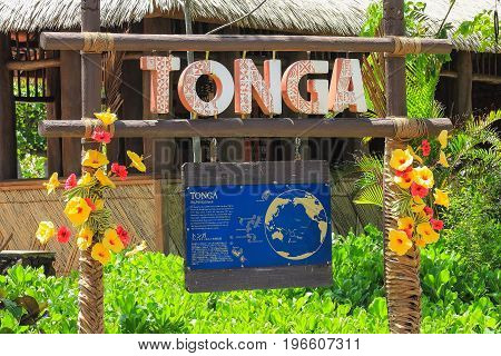 Honolulu Hawaii - May 27 2016: Sign at the Tongan Village within the Polynesian Cultural Center which is a popular tourist destination on Oahu.