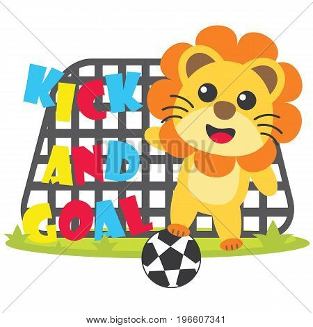 Cute lion plays footbal kick and goal vector cartoon illustration for kid t shirt design, nursery wall, and wallpaper