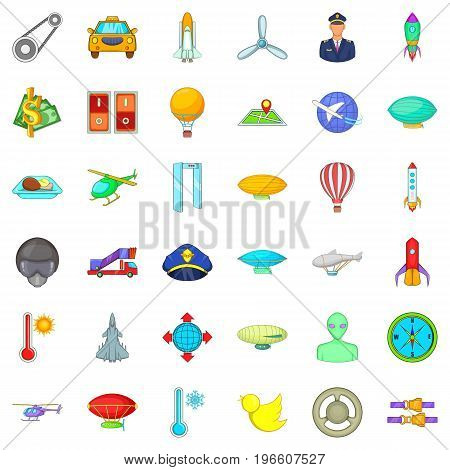 Aircraft icons set. Cartoon style of 36 aircraft vector icons for web isolated on white background