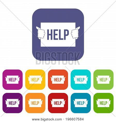 Help icons set vector illustration in flat style in colors red, blue, green, and other