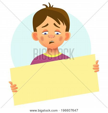 Sad boy holding blank poster. Blank message vector illustration. Hands holding blank paper