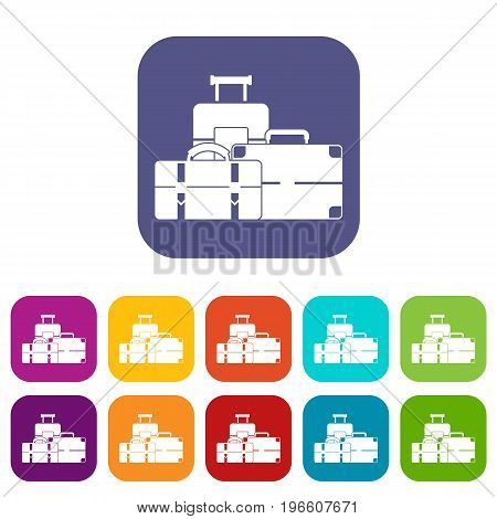 Baggage icons set vector illustration in flat style in colors red, blue, green, and other