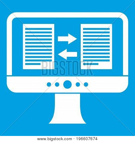 Translator app on the screen of computer icon white isolated on blue background vector illustration