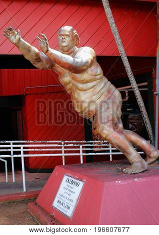 Honolulu, Hawaii, USA - May 29, 2016: Statue of Local Legend Akebono - Yokozuna Grand Champion