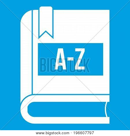 Dictionary book icon white isolated on blue background vector illustration